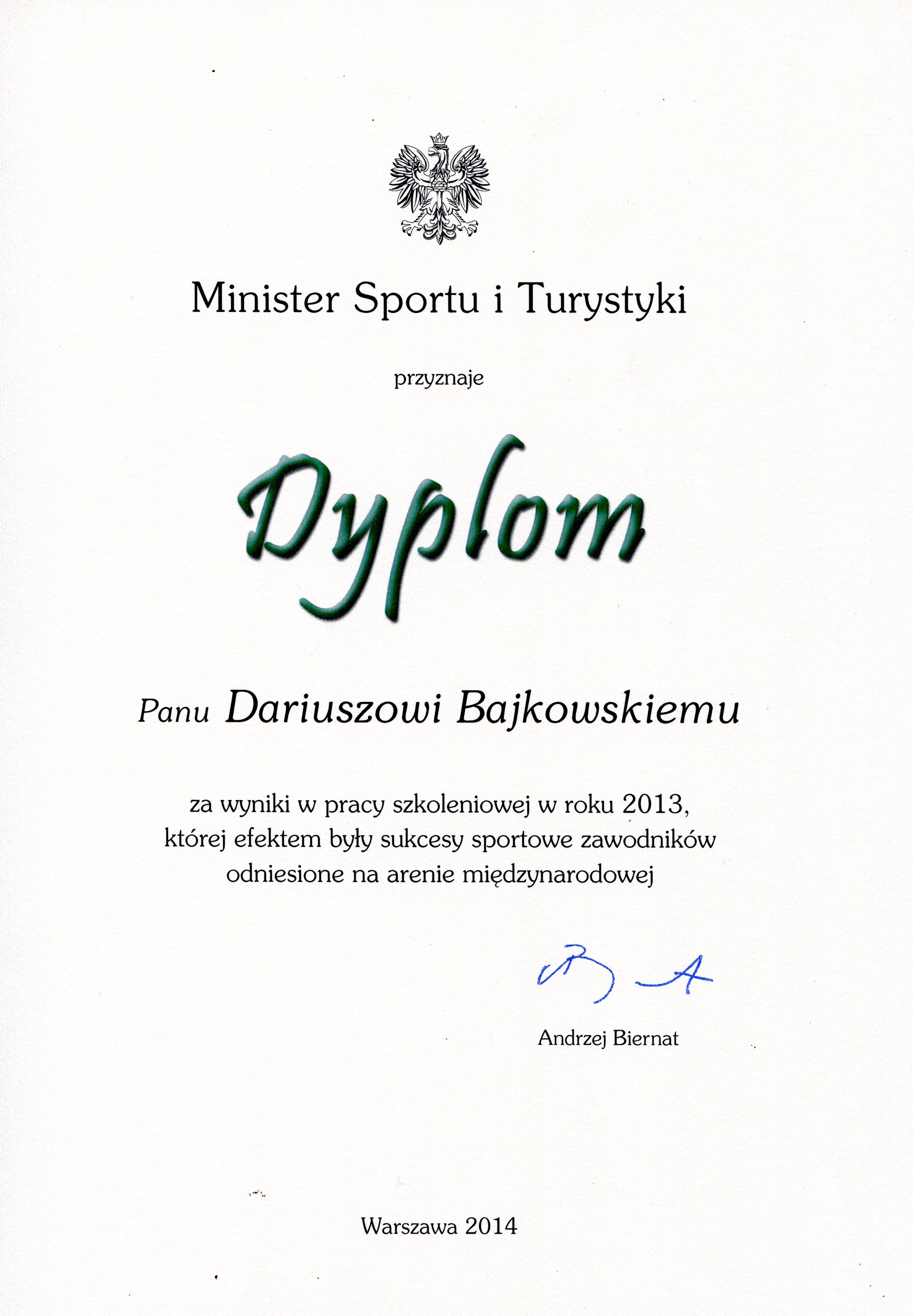 MSiT dyplom za wyniki trenerskie 2014